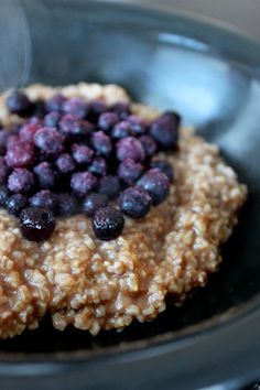 Single Serve Steel Cut Oats Topped with Blueberries