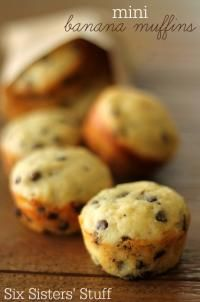 Six Sisters Mini Banana Chocolate Chip Muffins Recipe. A perfect grab n go breakfast or snack!