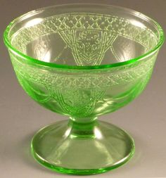 2e3e0d992741 Green Depression Glass Georgian Lovebirds Champagne Sherbet Federal Stemmed  VTG. Vintage Green GlassVaseline GlassGlass DishesKitchen ...