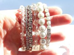 Stackable Stretch Crystal and Faux Pearl Statement Bracelet - Bracelets