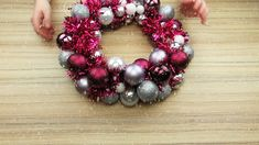 DIY Christmas wreath- Ghirlanda di Natale Fai da Te Find out how to make a Christmas garland with the metal hanger - Country Christmas Decorations, Farmhouse Christmas Decor, Xmas Decorations, Christmas Diy, Christmas Ornaments, Bauble Wreath, Diy Wreath, Ornament Wreath, Pinecone Crafts Kids