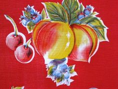 RED APPLE PEAR RETRO FRUIT KITCHEN OILCLOTH VINYL SEW CRAFT DECOR  FABRIC BTY #ImportedfromMexico