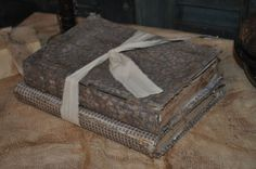 2 Primitive Time Worn Fabric Covered Books Old Blues Checked & Blue Calico Print #NaivePrimitive #artist