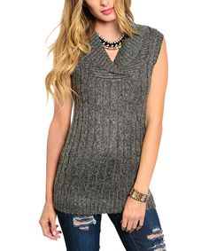 Gray Cable-Knit Sleeveless Sweater