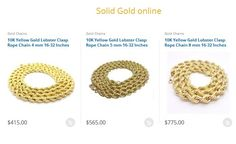 As gold chain is very popular and widely used jewelry, you can find it in distinct design and patterns. Nowadays you can find the most delightful rope gold chain jewelry available at online store at best price. https://www.solidgold.online/collections/gold-chains/Rope-Chain