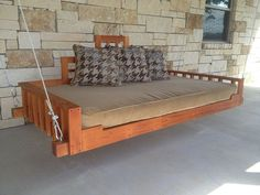 Swing Bed - Porch Swing (Outdoor bed, Day bed swing, Hanging Bed, Swing) Handmade with Mahogany wood Porch Furniture, Pallet Furniture, Outdoor Furniture, Furniture Projects, Modern Furniture, Outdoor Porch Bed, Outdoor Pallet, Diy Pallet, Outdoor Futon