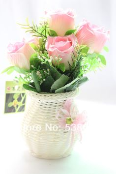 New 1  PCS Artificial  Silk Flower Pink  Large Bud Rose +White Plastic Vase  Gift  Wedding Home Decorative Flower $12.99