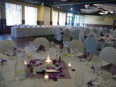 Tovsen Wedding 8.2.14 Rockwoods Banquet Center. Purple Centerpieces. Traditional Head Table. www.rockwoodsgrill.com