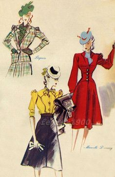 mars 1940 , dessin/esquisse/illustration de la mode des vêtements de plein air (=vestes , manteaux... )
