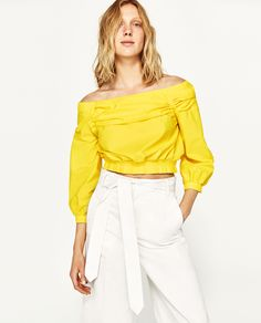 ZARA YELLOW OFF-THE-SHOULDER BLOUSE