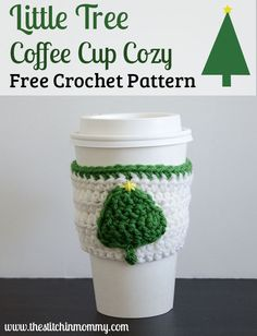 Free crochet pattern: Little Tree Coffee Cup Cozy by The Stitchin' Mommy #BlogHopCAL2016