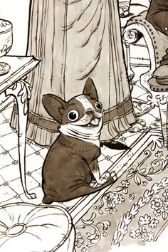 Skullduggery, Cory Loftis I love illustrations that are just partially coloured with shades of sepia. So simple but it looks awesome :)! Art And Illustration, Animal Drawings, Art Drawings, Really Cool Drawings, Disney Drawings, Animal Design, Dog Art, Silhouette, Manga Art