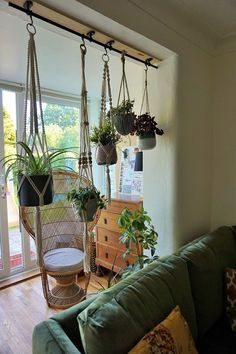 Gardening Indoor ikea hack with fintorp rail hanging plants - An ikea hack to hang your houseplants from the ceiling. A bohemian living room with lots of greenery and plants. A room divider of plants Room With Plants, House Plants Decor, Kitchen With Plants, Fintorp Ikea, Small Garden Design, Hanging Planters, Hanging Herb Gardens, Indoor Plants, Ikea Plants