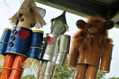 Tin can art - Handmade Wizard of Oz Scarecrow Tin Man, lion, Witch, Dorothy or original tin man – Tin can art Tin Can Man, Tin Man, Recycled Tin Cans, Recycled Art, Recycled Furniture, Handmade Furniture, Wizard Of Oz Lion, Wizard Of Oz Decor, Pop Can Crafts