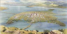 Aerial view of Tenochtitlan as it could be in the middle of Lake Texcoco Aztec City, Maya, Aztec Empire, Mexica, Mesoamerican, Ancient Mysteries, Prehistory, Ancient Architecture