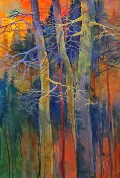 """""""Twilight Dance"""" abstract tree landscape painting by Carol Nelson"""