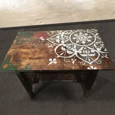 Jan 2020 - Mandala Console Table Handpainted Antique Laundry Table Refurbished Furniture Design by Stephanie Ishler Diy Table Top, Wooden Table Top, Table Top Design, Coffee Table Design, Wood Table, Stencil Table Top, Stenciled Table, Painted Table Tops, Painted Coffee Tables