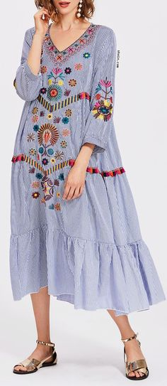 Vertical Striped Flower Embroidered Frill Hem Dress