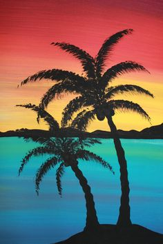 Original Acrylic Painting Canvas Paradise by PicturesqueFolkart - - Cheryl Krahn (this is actually a zoom of part of a painting, but I thought it looked great alone.  I'll pin the other half also). colorful, tropics, island sunset, palm trees