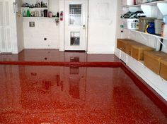 Rustoleum Countertop Paint With Flakes : Its a bit daring, but every client who ordered a red epoxy garage ...