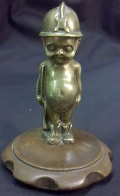 ANTIQUE KEWPIE ANGEL DOLL MILITARY BRASS & COPPER CAR AUTO ORNAMENT VERY RARE..someone please buy for me!