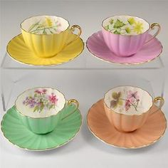 SHELLEY HARLEQUIN PART TEA SET 4 CUPS & SAUCERS ROSE PHOLOX FRESSIA CLEMATIS | eBay