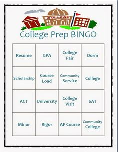 College Prep BINGO part of my classroom lesson about Early College Awareness.