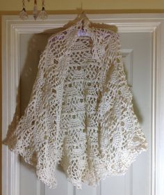 Crocheted Lacey Cream Shawl by PinkPicot on Etsy, @lyndakinzey on  Pinterest
