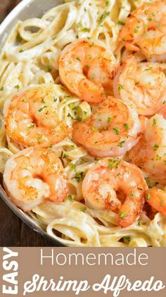 Easy Shrimp Alfredo recipe made with homemade Alfredo Sauce, fettuccine, and juicy Parmesan Coated Shrimp. This is such a comforting family dinner and it's ready in only 30 minutes. You can easily make it any Shrimp Recipes For Dinner, Shrimp Recipes Easy, Seafood Recipes, Healthy Recipes, Seafood Meals, Recipes With Cooked Shrimp, Seafood Dinner, Chicken Recipes, Healthy Food