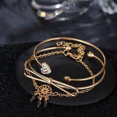 Elegant Cuff Bracelets Chain Dream Net Bowknot Crystal Heart Fashion Multilayer Bracelet for Women , Body Jewelry, Jewelry Sets, Jewelry Watches, Women Jewelry, Fashion Bracelets, Cuff Bracelets, Pendant Earrings, Bracelet Sizes, Chain