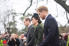 William, Kate and Harry walking to church on Christmas morning || December 25, 2015