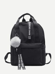 Shop Slogan Ribbon & Pom Pom Decor Backpack at ROMWE, discover more fashion styles online. Backpack Bags, Leather Backpack, Fashion Backpack, Black Backpack, Romwe, Young Models, Cool Names, Swagg, Fashion News