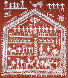 Museum of Tribal Art and Artefact, Bhubaneshwar, Odisha (India) Worli Painting, Indian Illustration, Pottery Painting Designs, Indian Folk Art, Madhubani Painting, Watercolor Cat, Indian Paintings, Art Challenge, Tribal Art