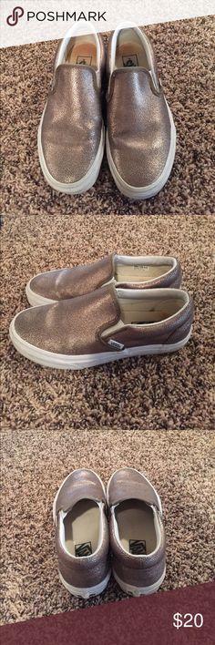 Vans Metallic Slip on Size 7 Vans Metallic Slip on Size 7 gently used Vans Shoes Sneakers