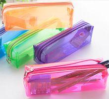 Alta calidad de plástico transparente de lápiz del bolso de almacenamiento titular bolsa Cosmetic Makeup Bag Pouch regalo navidad moda(China (Mainland))