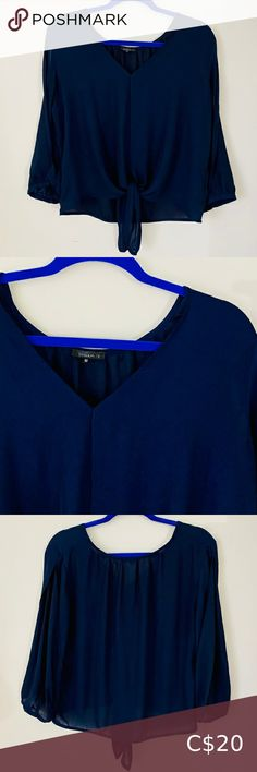 DYNAMITE Blue Blouse- Size L Beautiful and flowy blue DYNAMITE blouse with a tie detail at the bottom. Plus Fashion, Fashion Tips, Fashion Trends, Blue Blouse, Blouses, Tie, Detail, Outfits, Beautiful