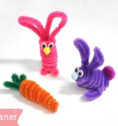 Pipe cleaner bunny and carrot - easy Easter craft for kids // Zsenília drót (pipatisztító) nyuszi és répa - kreatív húsvéti ötlet gyerekeknek // Mindy - craft tutorial collection // #crafts #DIY #craftTutorial #tutorial