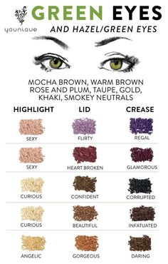 Make up colors for Green Eyes and Hazel Eyes.  Younique Mineral Pigments can be used wet for more intensity or dry for a more subtle color.  Add to clear nail polish to create a custom color.  Add to lip gloss to create your own lippies!  Use as hair chalk.  100% Natural, Gluten Free Eye Shadow.  #LashGirlsRock