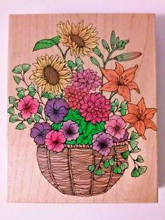 Vintage 1995 SUPER FLOWER BASKET Rubber Stamp Wood Block Hero Arts S1007 #HeroArts #Flowersinbasket