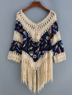 To find out about the V Neck Fringe Hollow Out Feather Print Shirt at SHEIN, part of our latest Blouses ready to shop online today! Pretty Outfits, Cool Outfits, Mexican Fashion, Rainbow Crochet, Feather Print, Crochet Poncho, Crochet Videos, Crochet Fashion, Crochet Clothes