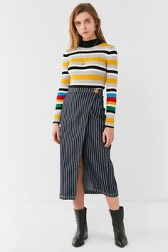 Shop BDG Pinstripe Denim Midi Skirt at Urban Outfitters today. We carry all the latest styles, colors and brands for you to choose from right here.