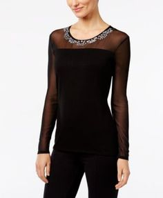 INC International Concepts Embellished Illusion Top, Only at Macy's | macys.com
