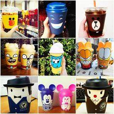 En Corea están muy de moda estos simpáticos diseños en los vasos para café y otras infusiones