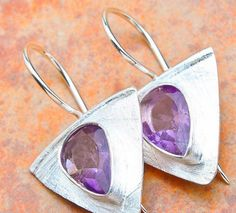 "ROYAL PURPLE NewCLASSY DayEvening  AMETHYST 925 STERLING 1.25"" Earrings JEWELRY  #DropDangle"