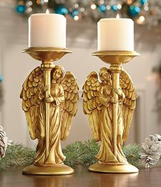 Set of 2 Gold Guardian Angel Candle Holder Decor Table Top Mantle Centerpiece - Sonoma Christian Home Candle Holder Decor, Pillar Candle Holders, Candle Lanterns, Pillar Candles, Candels, Beeswax Candles, Christmas Table Centerpieces, Christmas Candles, Christmas Holidays