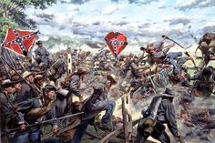 On July 3, 1863, Major General Isaac Trimble's brigade of General Pettigrew's Division, crossed the  Emmitsburg Road during Pickett's charge at the battle of Gettysburg. General George Pickett led his troops nearly a mile over open field and road bed  toward the Union line. As they climbed over the strong rail fences they were cut down by the Federal troops.  Those who could fell back to the safety of the tree line.  The flag of the 7th North Carolina is shown in the battle.   Image Size 29…