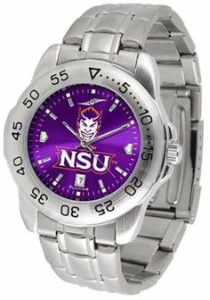 Northwestern State Demons NSU NCAA Mens Sport Anochrome Watch by SunTime. $64.95. Stainless Steel-Scratch Resistant Crystal. Links Make Watch Adjustable. Men. Officially Licensed Northwestern State Demons Men's Stainless Steel Wristwatch. AnoChrome Dial Enhances Team Logo And Overall Look. This handsome eye-catching Mens Sports AnoChrome Watch With Stainless Steel Band comes with a stainless steel link bracelet band. A date calendar function plus a rotating bezel/timer circles th...