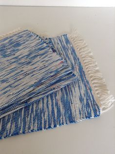 Hand Woven Plarn Placemats in Blue and White by HandMaidnTucson