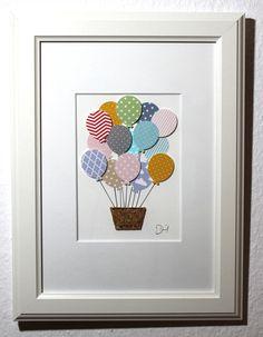 Kinderzimmer Bild Heißluftballon mit vielen unterschiedlichen Ballons. Ein super niedliches Wohnaccessoire für das Kinderzimmer. Das Kinderzimmer Bild sieht zauberhaft aus, wertet das...