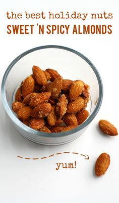 A tasty recipe for sweet and spicy almonds. Deliciously easy for the holidays or anytime. I make these every year and they are loved by ALL! Vegan and gluten free.